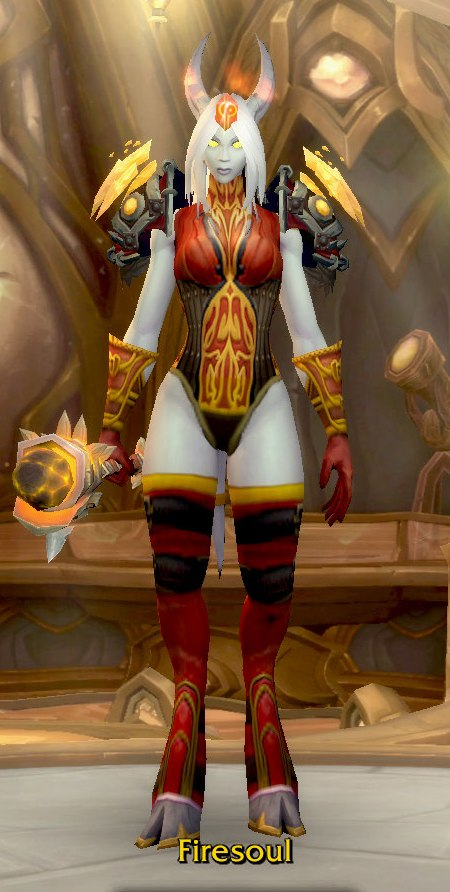 Fire Mage Red Transmog for Firesoul - Lightforged Draenei Alliance